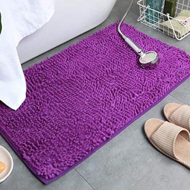 Imagem de giveyoulucky Tapetes de banheiro Absorventes Antiderrapantes Tapetes de banheiro de pelúcia para sala de estar/cozinha Roxo 6090 cm