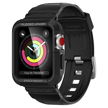 Spigen Rugged Armor Pro Pulseira compatível com Apple Watch Capa Protetora com bandas 42mm Série 3/2/1 - Preto