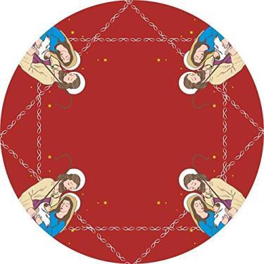 Imagem de Toalha De Mesa Redonda Tecido Oxford Jesus Família -140x140cm