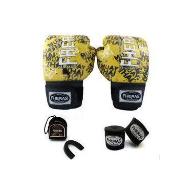 Kit Boxe Muay Thai Top Luva Bandagem Buca 14 oz GRAFITE