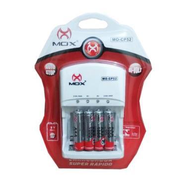 Carregador de Pilhas Mox com 4 pilhas AAA 1000mAh Palito Recarregáveis