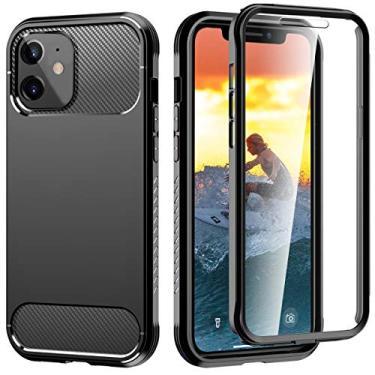 Capa para iPhone 12 Mini 5.4, DOOGE com [protetor de tela de vidro temperado] camada dupla de proteção total híbrida resistente à prova de choque anti-arranhões capa bumper para iPhone 12 Mini 5,4 polegadas