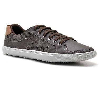 Sapatênis Masculino Em Couro Sandro Moscoloni Day By Day Limited Edition Marrom Escuro Outlet Coffee / 38