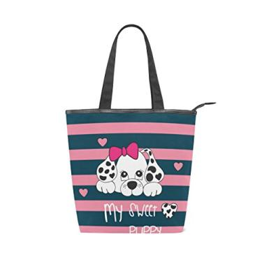 Bolsa feminina de lona durável My Sweet Puppy listrada grande capacidade sacola de compras bolsa de ombro