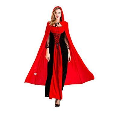 Imagem de Holibanna Conjunto de fantasia de cosplay de bruxa de Halloween com chapéu para mulheres adultas, tema rainha, apresentação, festa, suprimento P, Imagem 1, XG
