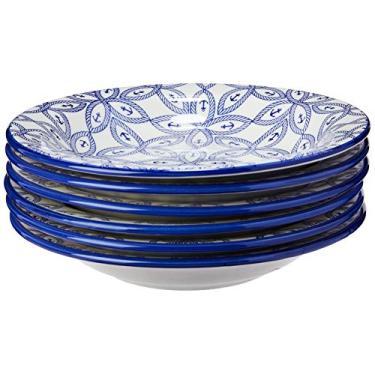 Imagem de Conjunto com 6 Pratos Fundo Oxford Daily Floreal Náutico Branco/Azul 23Cm