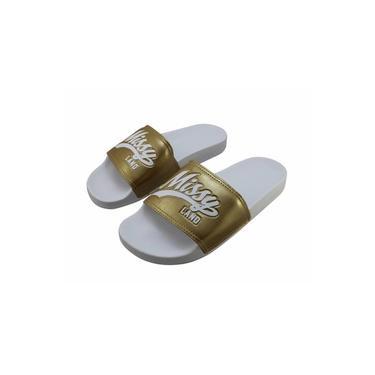 Chinelo Qix Missy Slide Branco/Dourado