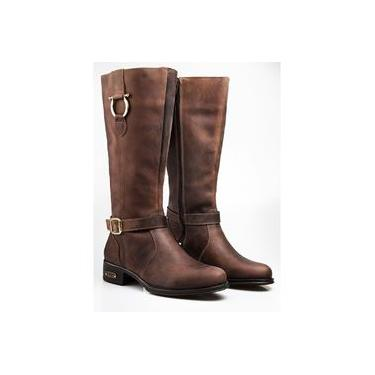 Bota Montaria Capelli Boots em Couro Fóssil com Solado em Borracha Feminina