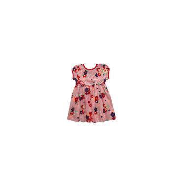Vestido infantil menina com estampa vermelho flora Kyly
