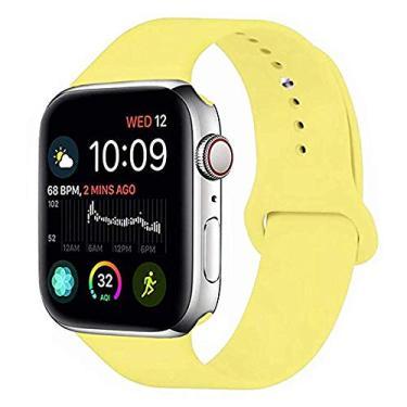 Pulseira Sport em Silicone para relógio Apple Watch 42mm Series 3 2 1 (Amarelo 42mm ML)