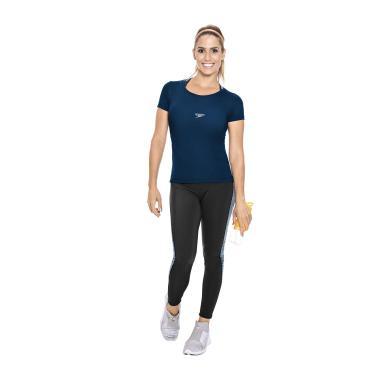 Speedo Jacquard, Camiseta de Manga Curta Mulher, Azul (Marinho), GG