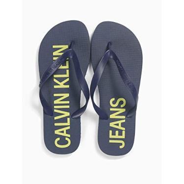 Chinelo Logo deslocado, Calvin Klein, Masculino, Azul, 37/38