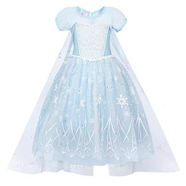 WonderBabe Vestido feminino com estampa de neve e gelo em malha multicamadas azul claro 120