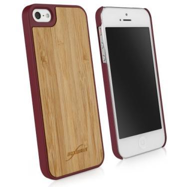 Capa para iPhone SE, BoxWave [True Bamboo Minimus Case com carregador de chaveiro] Feito à mão, capa de madeira verdadeira para Apple iPhone SE, 5s, 5 - Castanho