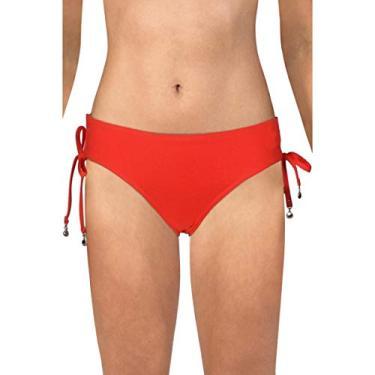 Anne Cole Calcinha de biquíni feminina com amarração lateral franzida em coral, Coral, M