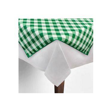 Imagem de Toalha De Mesa Cobre Mancha Quadrado Em Tecido Xadrez Verde E Branco 0,80m