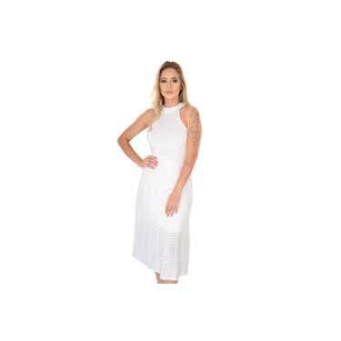Vestido Festa Médio Decote Nadador Verão Rendado Tricot Livora Cor:Branco;Tamanho:Único;Gênero:Mulher