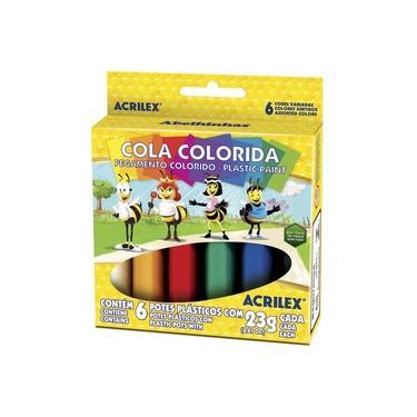 Imagem de Cola Colorida 6 Cores Plastic Paint