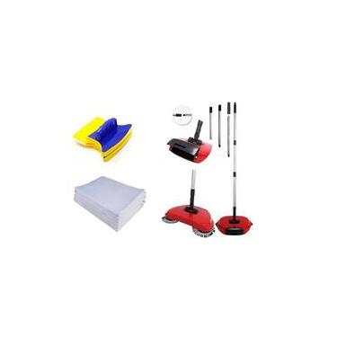 Kit Vassoura Máfica c/ 3 Panos de chão e Limpa Vidros