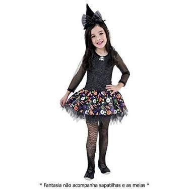 Imagem de Fantasia Menina Halloween Bruxinha Bruxa + Chapéu (GG)
