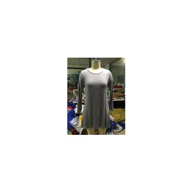 Vestido feminino cor sólida gola redonda manga comprida solta vestido de comprimento médio