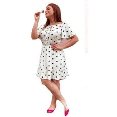 Imagem de Vestido Feminino Ombro A Ombro Viscose Estampado Liso E Poá (Branco- bolinha- verde, G)