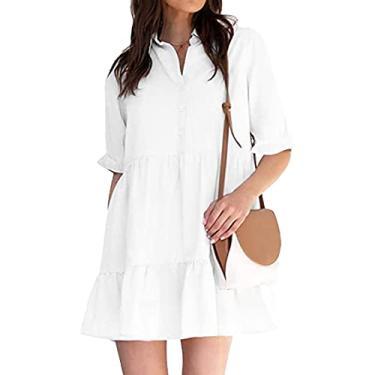 Imagem de maiduoduo01 Vestido casual fashion para mulheres, mini vestido com babados na bainha de manga curta feminino com lapela única vestido para festa branco 2GG