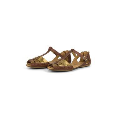 Sandalia Rasteirinha Conforto em Couro 710 Bronze  feminino
