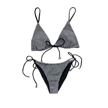 Eledobby Biquíni Acolchoado Feminino Sexy Sling Biquíni Praia Maiô Roupa Casual Cinza de Férias com Cintura Baixa Calções de Banho