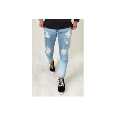 Calça Masculina Jeans Rasgada Lycra Premium Destroyed Skinny