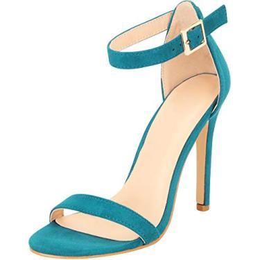 Sandália feminina clássica de salto alto com tira no tornozelo e salto agulha Cambridge Select, Teal Blue Imsu, 9