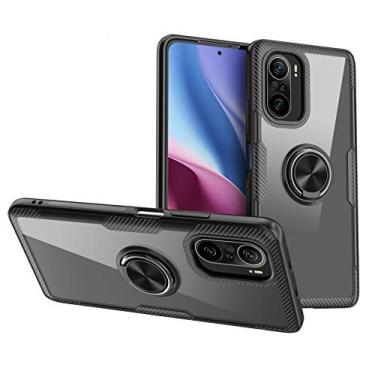 Celular Xiaomi K40/K40Pro/11X Pro/Poco F3 Capa de ultra-fina capa combinação macia e dura um anel magnética de carro Suporte Case envoltório completo Protector:preto