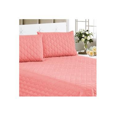 Imagem de Colcha + Jogo de cama Clean 3pçs Casal Queen Rosé Cotex