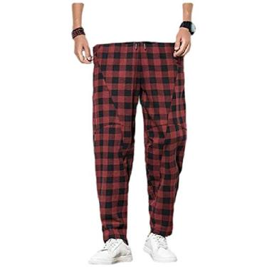 Calça masculina SELX Plus Size estampa xadrez linho fashion casual cintura relaxada, Vermelho, 4X-Large