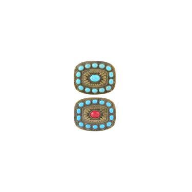 2Pacote Vintage Ocidental Tribal Turquesa Cinto Fivela Boho Fivelas De Tom De Bronze