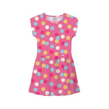 Vestido Infantil Bolinhas Coloridas Rovitex Kids Rosa Rovitex Kids