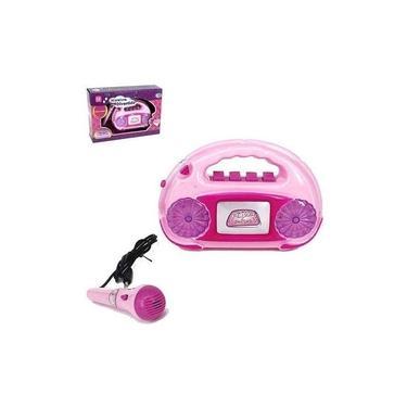 Imagem de Microfone Infantil Karaokê Caixa De Som Luz E Acessórios