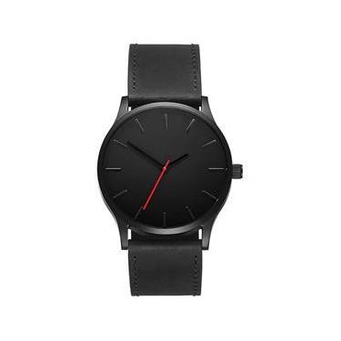 718290fbe9a Relógio Masculino Pulso Esportivo Couro Preto sem Data