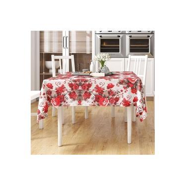 Imagem de Toalha Mesa Vermelha Floral Estampada Quadrada 1,40m x 1,40m Tecido Jacquard