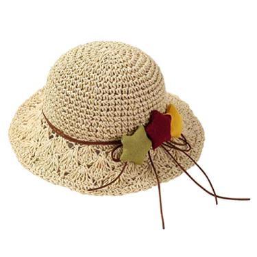 Chapéu de palha infantil para uso ao ar livre com decoração em forma de estrelas, chapéu de sol feito à mão, chapéu de sol flexível, chapéu de praia, chapéu de verão, chapéu panamá para meninas (bege)
