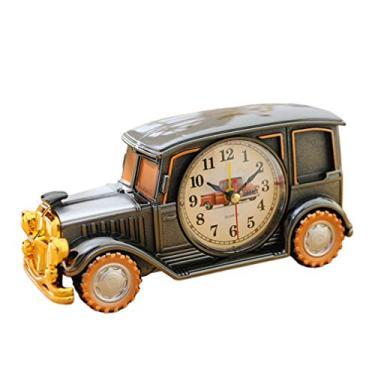 Imagem de Amosfun Despertador de metal em formato de carro antigo relógio de mesa clássico despertador de mesa despertador analógico para casa estilo 1