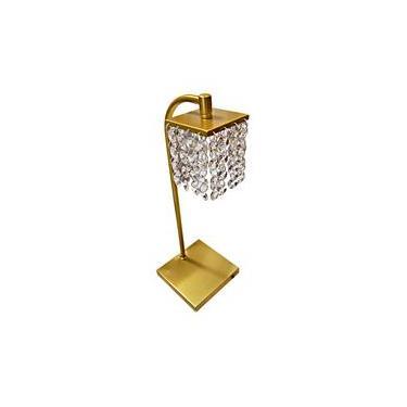Abajur quarto metal dourado com cristais legitimos