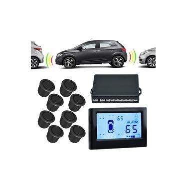 Sensor de Estacionamento Dianteiro e Traseiro 8 Pontos com Visor LCD Orbe 18mm Sobrepor Preto Universal