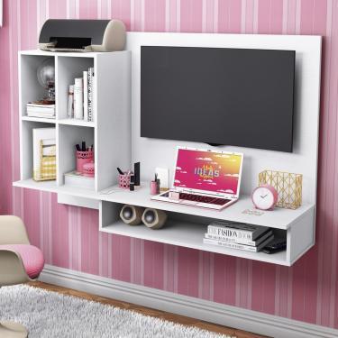 Escrivaninha Suspensa Com Painel Para Tv Até 32 Polegadas Show Albatroz Móveis Branco Textura