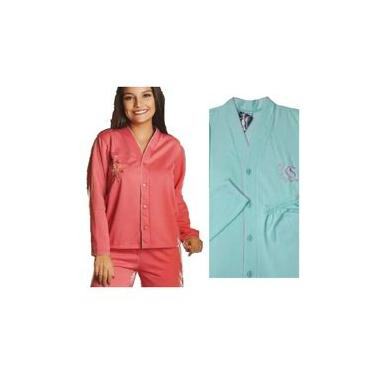 Pijamas Feminino de Inverno Aberto Flanelado