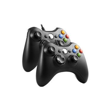Kit 2 Controle Xbox 360 Joystick Pc Com Fio Original Feir
