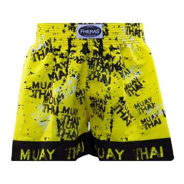 Shorts Boxe Muay Thai Fheras Training Grafite Amarelo G