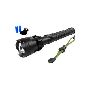 Kit Lanterna Led Tática Xml T9 Preta + Carregador E Baterias