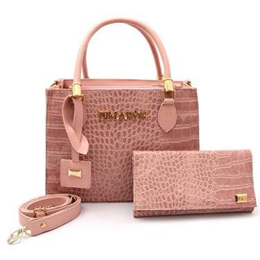 Imagem de Kit Bolsa Feminina Lorena Croco Transversal com Carteira cor: rosa
