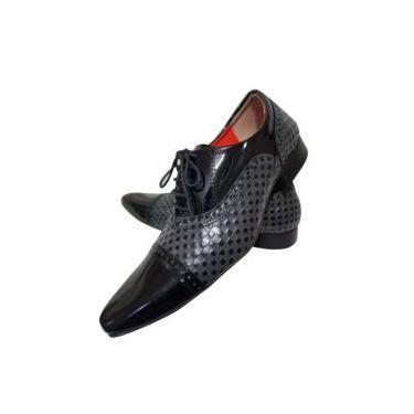 Imagem de Sapato Masculino em Couro Legítimo Italian Collection - Art Sapatos - Preto Verniz com Tricê Chumbo Nº 36